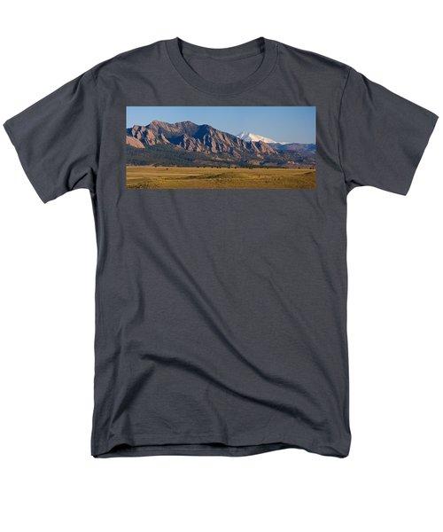 Flatirons And Snow Covered Longs Peak Panorama Men's T-Shirt  (Regular Fit)