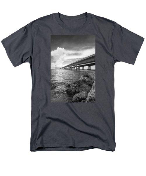 Florida Keys Seven Mile Bridge South Bw Vertical Men's T-Shirt  (Regular Fit) by Photographic Arts And Design Studio