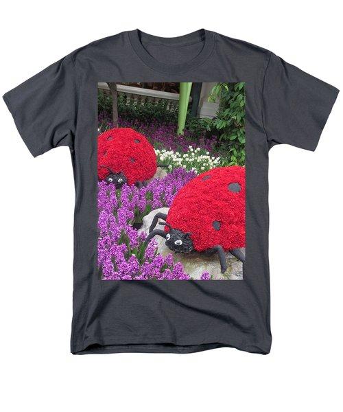 Flower Garden Ladybug Purple White I Men's T-Shirt  (Regular Fit) by Navin Joshi