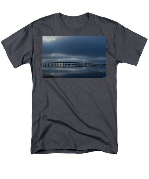 Men's T-Shirt  (Regular Fit) featuring the photograph Foggy Mirrored Navarre Bridge At Sunrise by Jeff at JSJ Photography