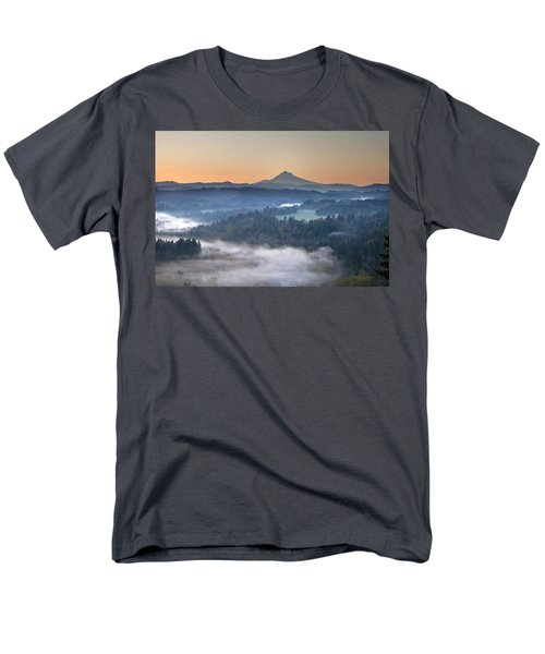 Men's T-Shirt  (Regular Fit) featuring the photograph Foggy Sunrise Over Sandy River And Mount Hood by JPLDesigns