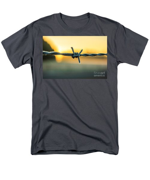 Frost On Barbed Wire At Sunrise Men's T-Shirt  (Regular Fit) by Michael Cross