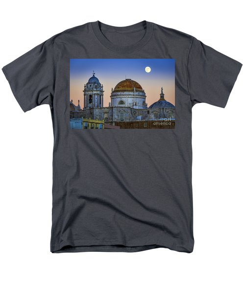 Full Moon Rising Over The Cathedral Cadiz Spain Men's T-Shirt  (Regular Fit) by Pablo Avanzini