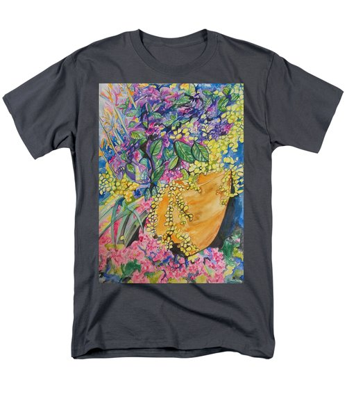 Men's T-Shirt  (Regular Fit) featuring the painting Garden Flowers In A Pot by Esther Newman-Cohen