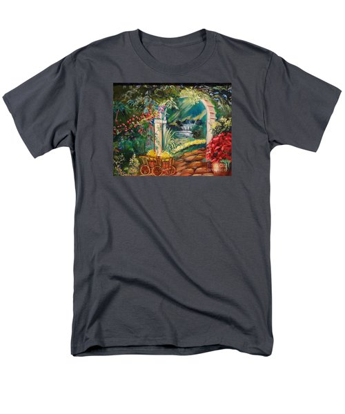 Men's T-Shirt  (Regular Fit) featuring the painting Garden Of Serenity Beyond by Jenny Lee
