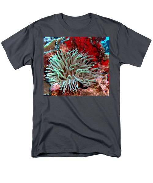 Giant Green Sea Anemone Against Red Coral Men's T-Shirt  (Regular Fit) by Amy McDaniel