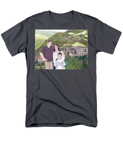 Men's T-Shirt  (Regular Fit) featuring the painting Giusy Mirko And Simone In Valle Castellana by Albert Puskaric
