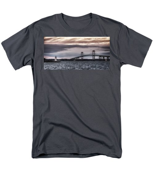 Goat Island Lighthouse And Newport Bridge Men's T-Shirt  (Regular Fit)