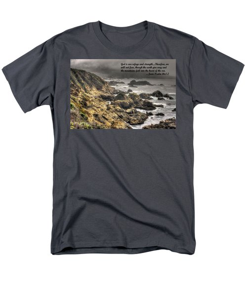 God - Our Refuge And Strength Though The Mountains Fall Into The Sea - From Psalm 46.1-2 - Big Sur Men's T-Shirt  (Regular Fit) by Michael Mazaika