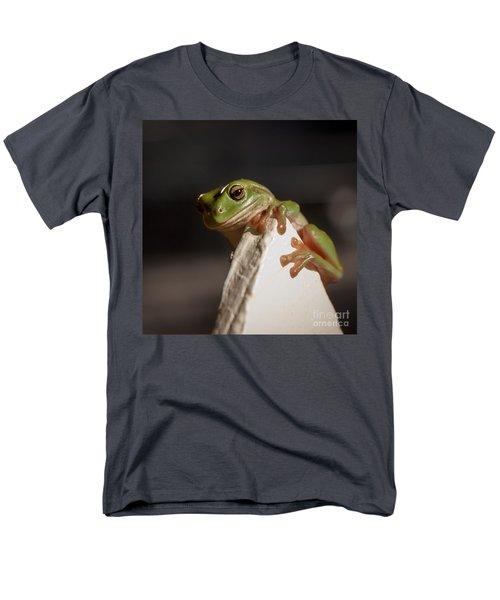 Green Tree Frog Keeping An Eye On You Men's T-Shirt  (Regular Fit) by Peta Thames