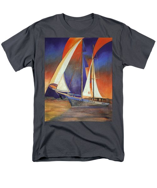 Men's T-Shirt  (Regular Fit) featuring the painting Gulet Under Sail by Tracey Harrington-Simpson