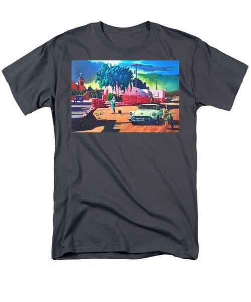 Men's T-Shirt  (Regular Fit) featuring the painting Guys Dolls And Pink Adobe by Art James West
