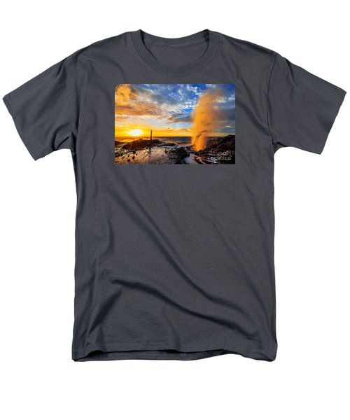 Men's T-Shirt  (Regular Fit) featuring the photograph Halona Blowhole At Sunrise by Aloha Art