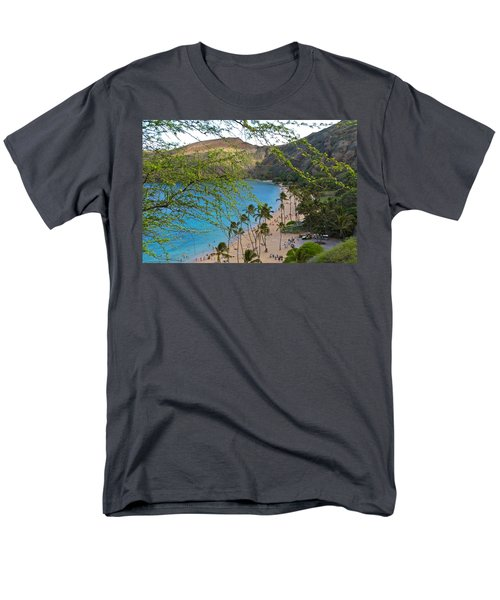 Hanauma Bay Nature Preserve Beach Through Monkeypod Tree Men's T-Shirt  (Regular Fit) by Michele Myers