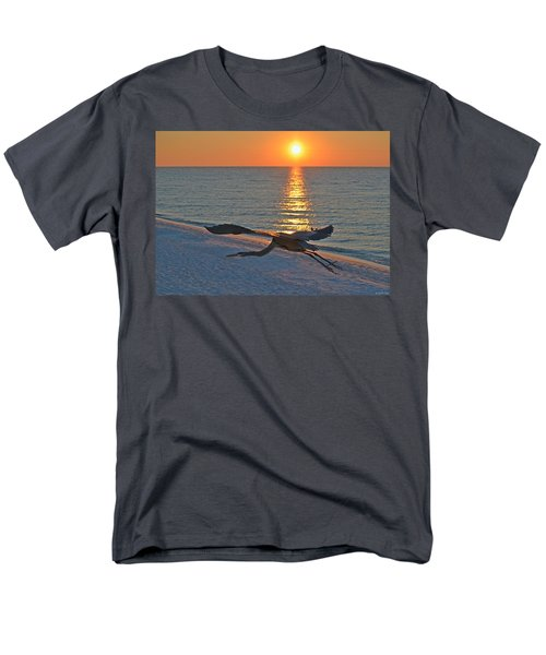 Men's T-Shirt  (Regular Fit) featuring the photograph Harry The Heron Takes Flight To Reposition His Guard Over Navarre Beach At Sunrise by Jeff at JSJ Photography