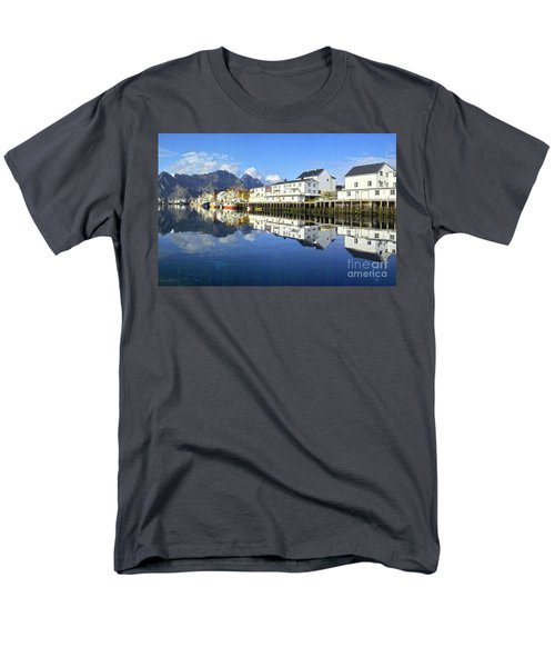 Henningsvaer Harbour Men's T-Shirt  (Regular Fit) by Heiko Koehrer-Wagner