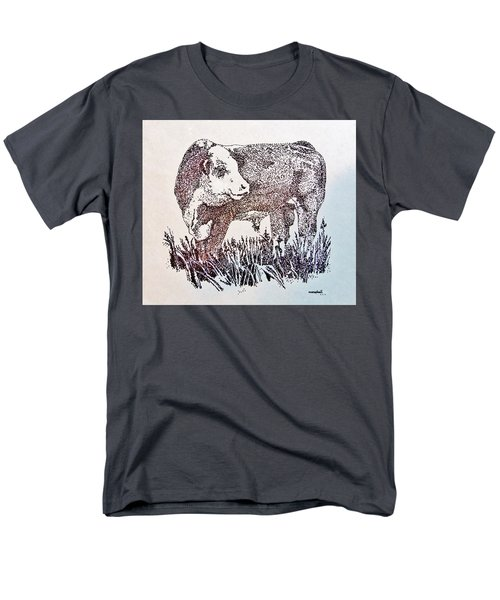 Men's T-Shirt  (Regular Fit) featuring the drawing Polled Hereford Bull  by Larry Campbell