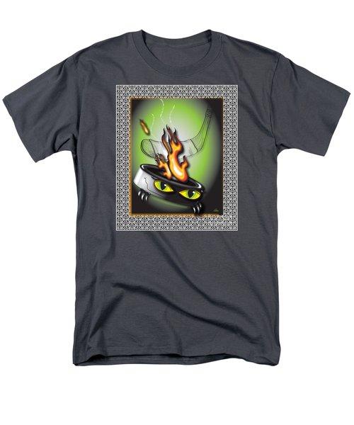Hockey Puck In Flames Men's T-Shirt  (Regular Fit) by Dani Abbott