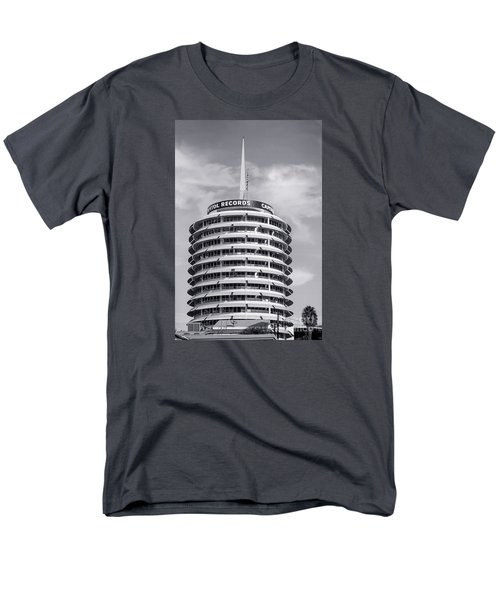 Hollywood Landmarks - Capital Records Men's T-Shirt  (Regular Fit) by Art Block Collections