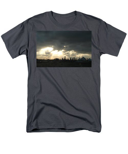 Men's T-Shirt  (Regular Fit) featuring the photograph Houston Refinery At Dusk by Connie Fox