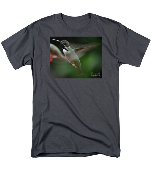 Men's T-Shirt  (Regular Fit) featuring the photograph Hummingbird Male Anna In Flight Over Perch by Jay Milo