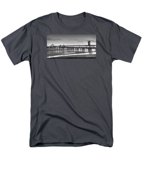 Men's T-Shirt  (Regular Fit) featuring the photograph Huntington Beach Pier Twilight - Black And White by Jim Carrell