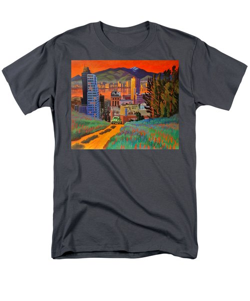 Men's T-Shirt  (Regular Fit) featuring the painting I Love New York City Jazz by Art James West