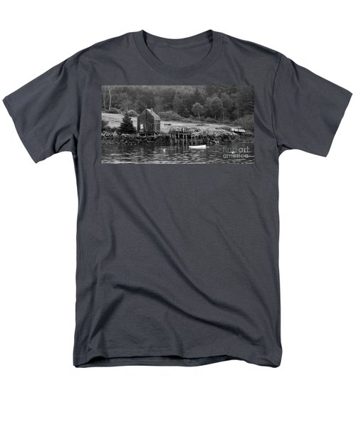 Island Shoreline In Black And White Men's T-Shirt  (Regular Fit) by Glenn Gordon