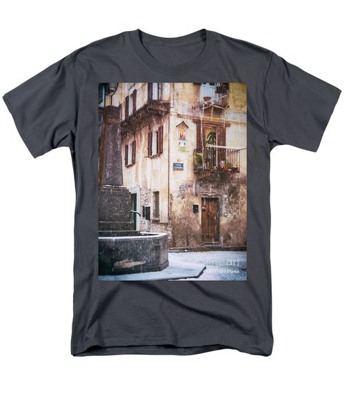 Men's T-Shirt  (Regular Fit) featuring the photograph Italian Square In  Snow by Silvia Ganora