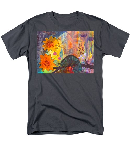 Men's T-Shirt  (Regular Fit) featuring the painting Jackson's Chameleon by Robin Maria Pedrero