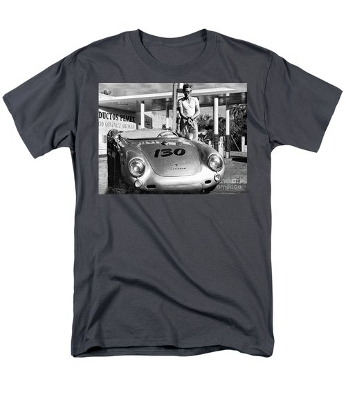 James Dean Filling His Spyder With Gas Black And White Men's T-Shirt  (Regular Fit)