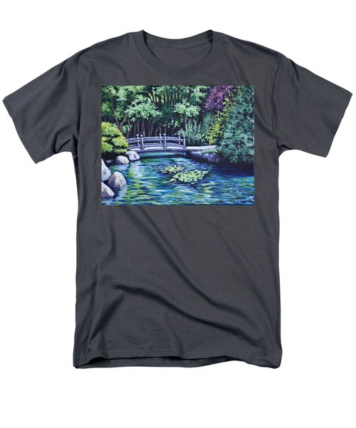 Men's T-Shirt  (Regular Fit) featuring the painting Japanese Garden Bridge San Francisco California by Penny Birch-Williams