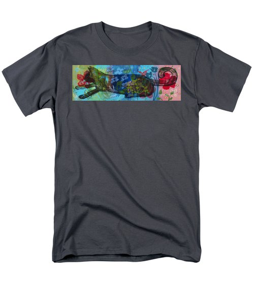 Men's T-Shirt  (Regular Fit) featuring the painting Jardine Cat by Robin Maria Pedrero
