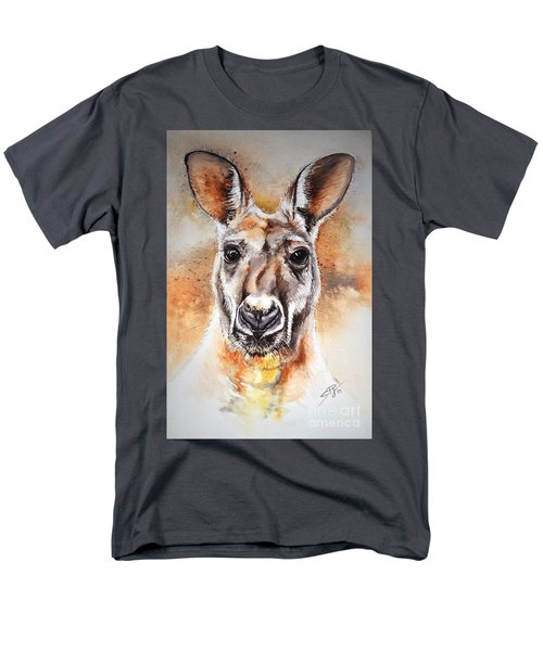 Men's T-Shirt  (Regular Fit) featuring the painting Kangaroo Big Red by Sandra Phryce-Jones