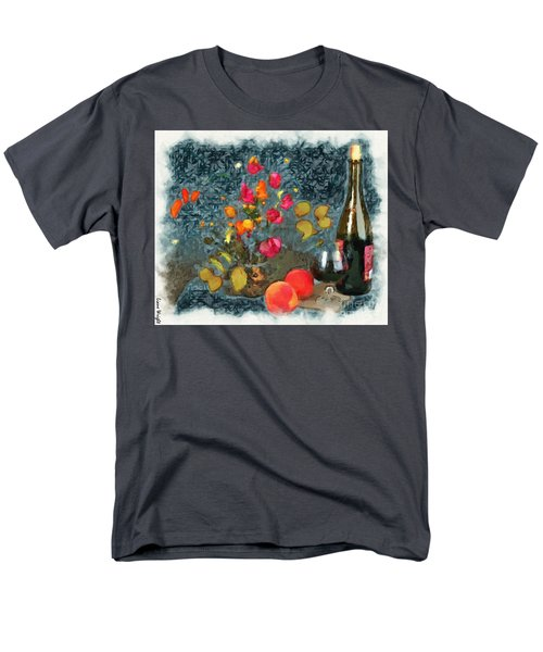 Kitchen - Peaches And Wine Painting  Men's T-Shirt  (Regular Fit) by Liane Wright