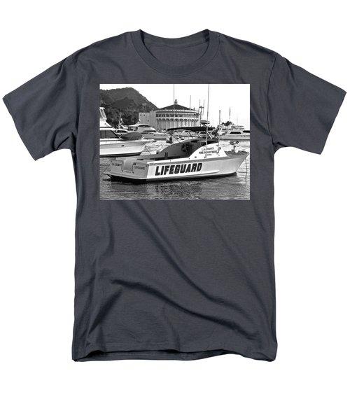 L A County Lifeguard Boat B W Men's T-Shirt  (Regular Fit) by Jeff Gater