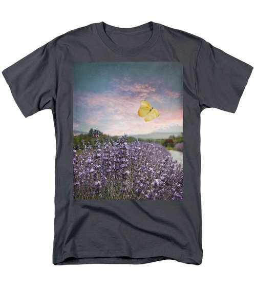 Lavender Field Pink And Blue Sunset And Yellow Butterfly Men's T-Shirt  (Regular Fit) by Brooke T Ryan