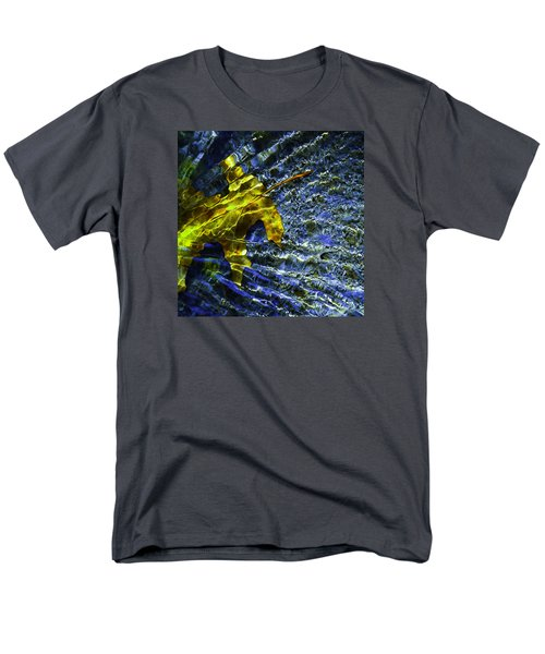 Men's T-Shirt  (Regular Fit) featuring the photograph Leaf In Creek - Blue Abstract by Darryl Dalton