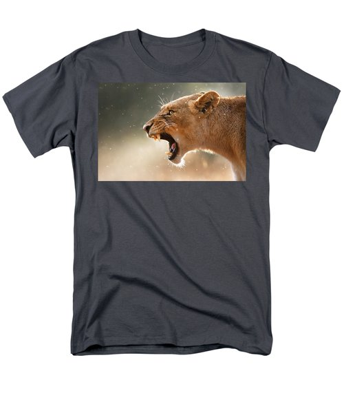 Lioness Displaying Dangerous Teeth In A Rainstorm Men's T-Shirt  (Regular Fit) by Johan Swanepoel
