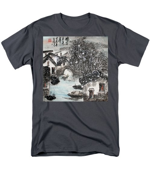 Men's T-Shirt  (Regular Fit) featuring the painting Lucky Snow  by Yufeng Wang