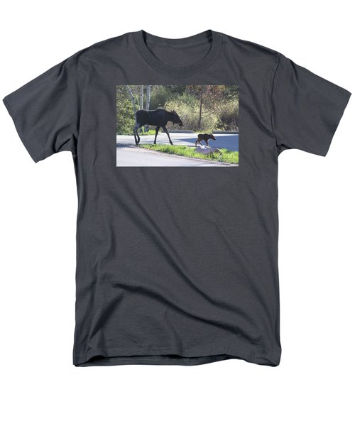Mama And Baby Moose Men's T-Shirt  (Regular Fit) by Fiona Kennard