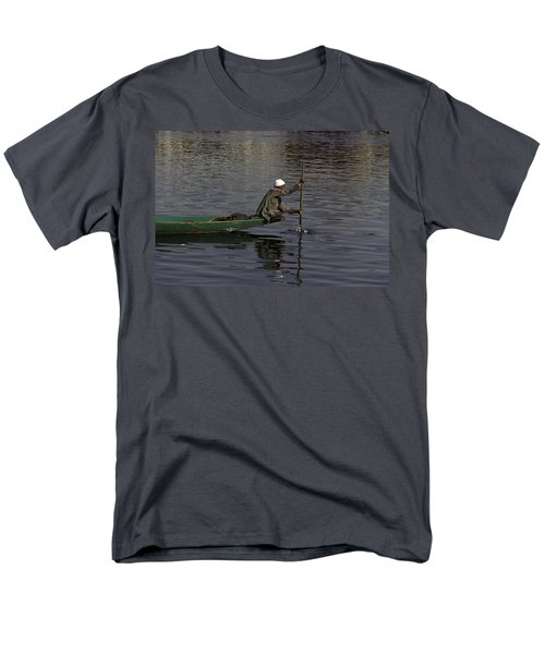 Man Plying A Wooden Boat On The Dal Lake Men's T-Shirt  (Regular Fit) by Ashish Agarwal