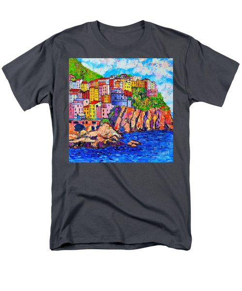 Manarola Cinque Terre Italy Detail Men's T-Shirt  (Regular Fit) by Ana Maria Edulescu
