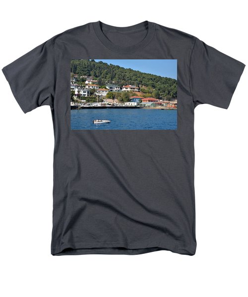Men's T-Shirt  (Regular Fit) featuring the photograph Marina Bay Scene With Boat And Houses On Hills by Imran Ahmed
