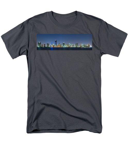 Miami Skyline At Night Men's T-Shirt  (Regular Fit) by Carsten Reisinger