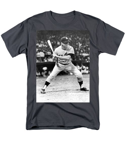 Mickey Mantle At Bat Men's T-Shirt  (Regular Fit) by Underwood Archives