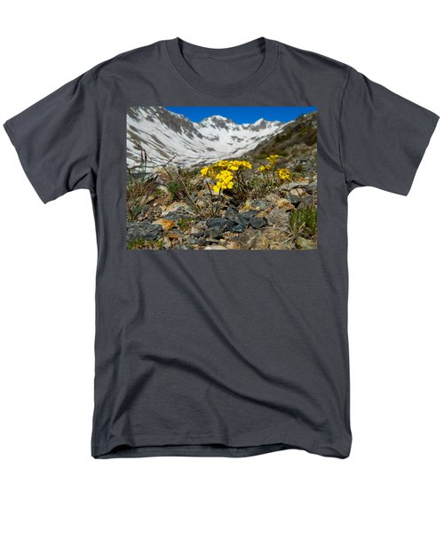 Blue Lakes Colorado Wildflowers Men's T-Shirt  (Regular Fit) by Dan Miller