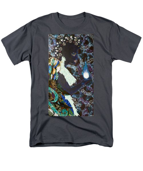 Men's T-Shirt  (Regular Fit) featuring the tapestry - textile Moon Guardian - The Keeper Of The Universe by Apanaki Temitayo M