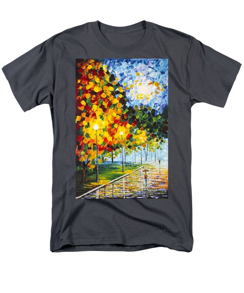 Men's T-Shirt  (Regular Fit) featuring the painting Moonlight Raindrops Original Acrylic Palette Knife Painting by Georgeta Blanaru