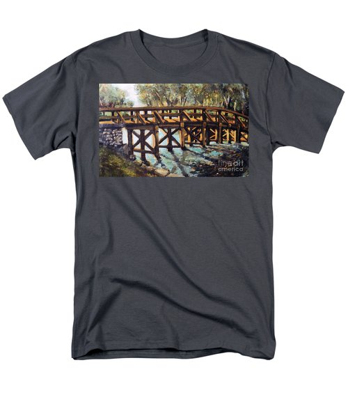 Men's T-Shirt  (Regular Fit) featuring the painting Morning At The Old North Bridge by Rita Brown